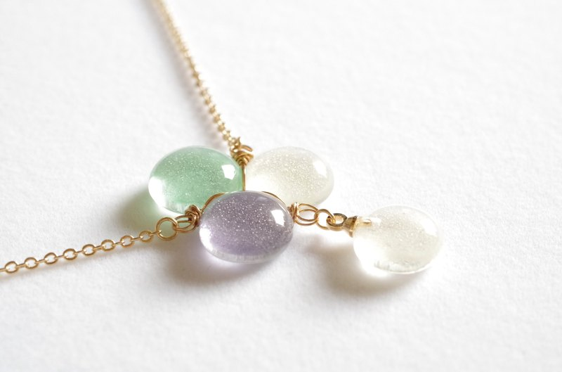 Glass water drop necklace <Vineyard>