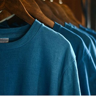 All kinds of blue | in the dark blue and blue and light blue T-shirt natural ancient plant blue dye men and women couple with the basic basic retro men and women pure cotton plain short-sleeved shirt Indonesia long cotton texture superb | NAMSAN