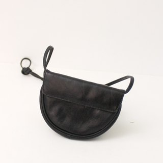 Vintage European 80s Leather Black Outing Side Back Small Wallet Antique Bag Vintage Bag