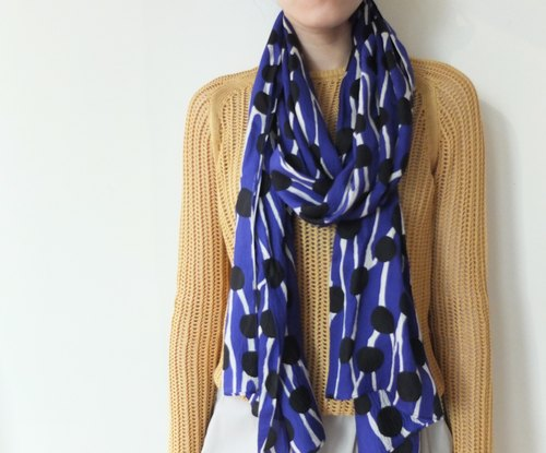 Dark Blue Geometric Abstract Print Scarf - Last 1 Left
