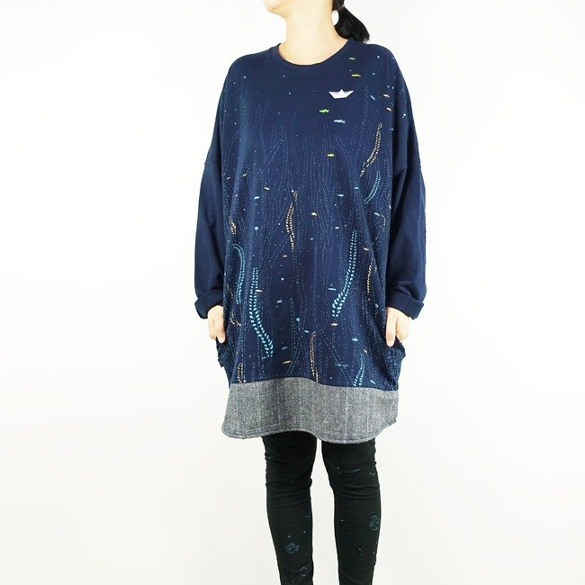Urb / Water Grass & Small Paper Boat / Stitching Long Pocket Dress