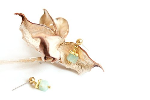 [Na UNA- excellent hand-made Sweetheart] amazonite small box - steel pin brass natural stones Customized