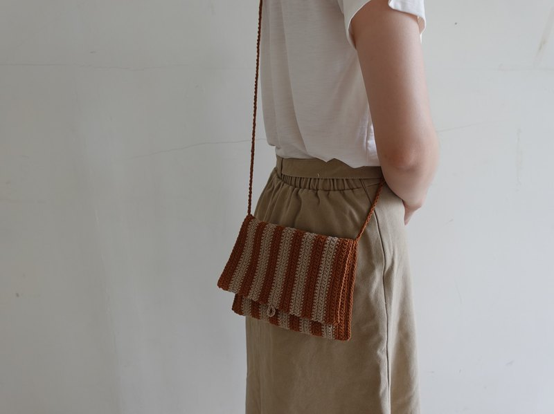 Striped small back / handmade / woven bag