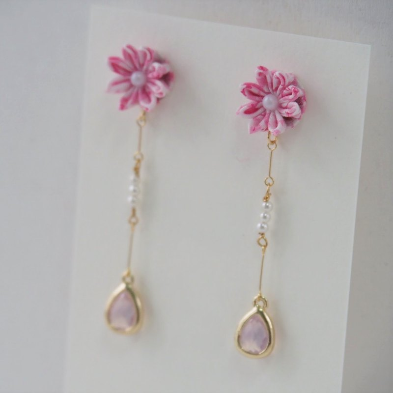 Elegant Pink Flower and Crystal Drop Earrings Clip-on 14KGF, S925 custom
