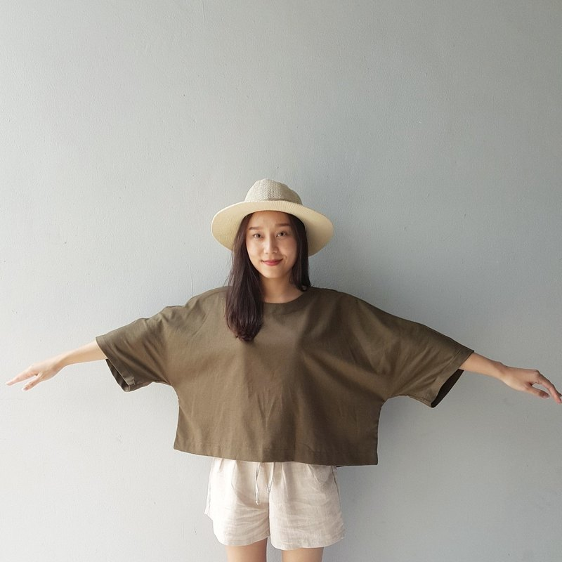 Linen loose top - Olive