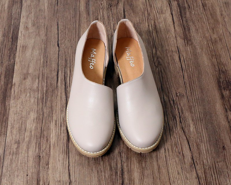 British leather side hollow shoes gradient color toe caps Oxford shoes apricot