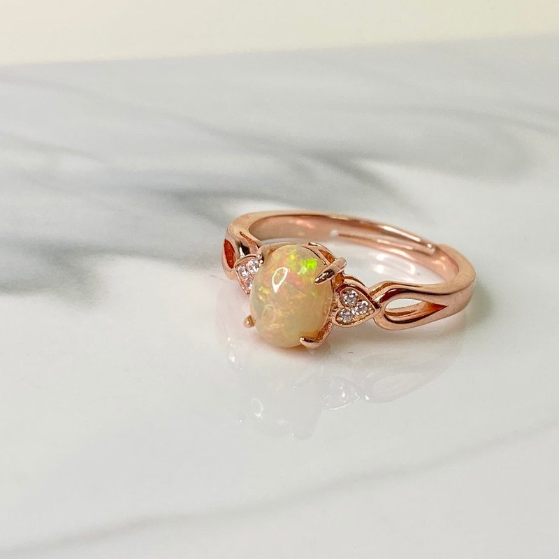 Opal Rose Gold Ring Valentine's Day Gift Spot Customizable
