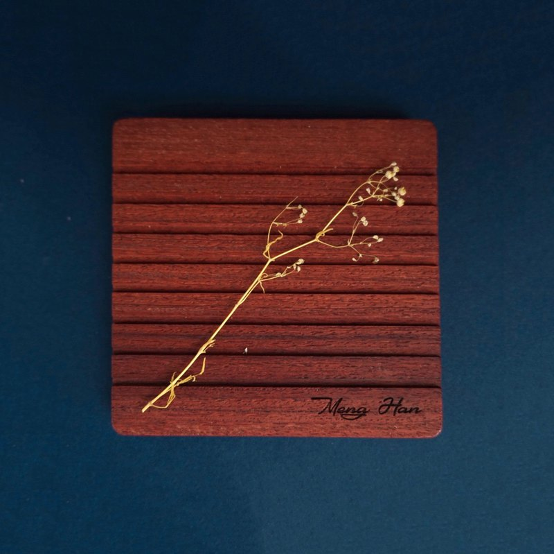 Line Handmade Log Coaster - Red Rosewood Free Lettering