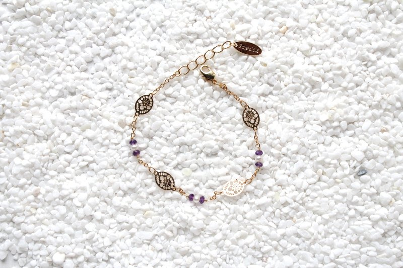 【FEBRUARY 2-birthstone-Amethyst】flowers and leaves bracelet (adjustable)