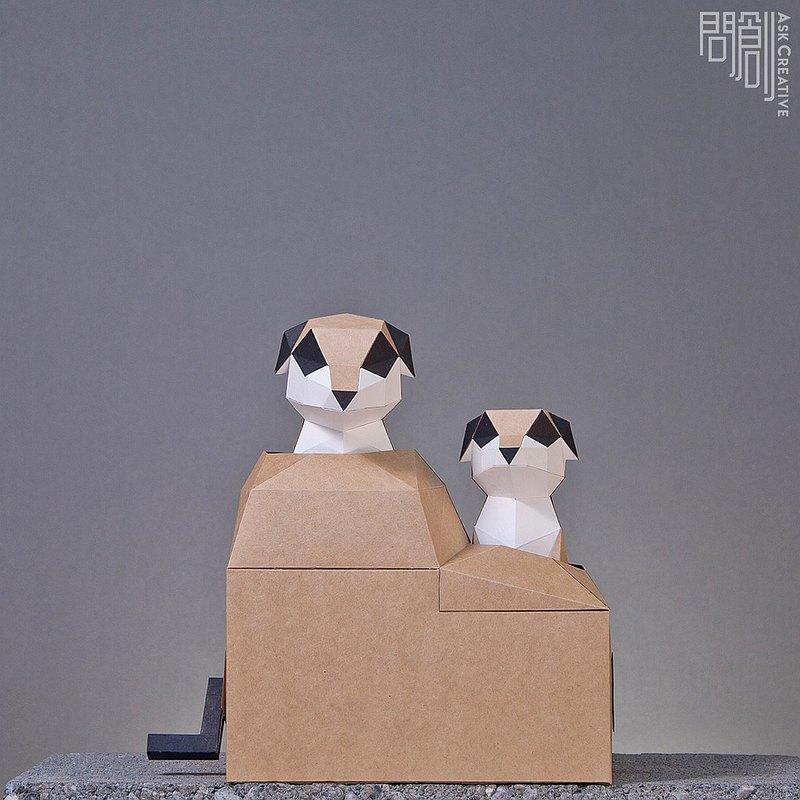 DIY手作3D紙模型 禮物 擺飾 寵物 動態系列 探頭狐獴 可動狐獴兄