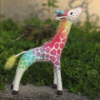 Rainbow giraffe pastel color large 32cm At present, the spot can be directly subscript
