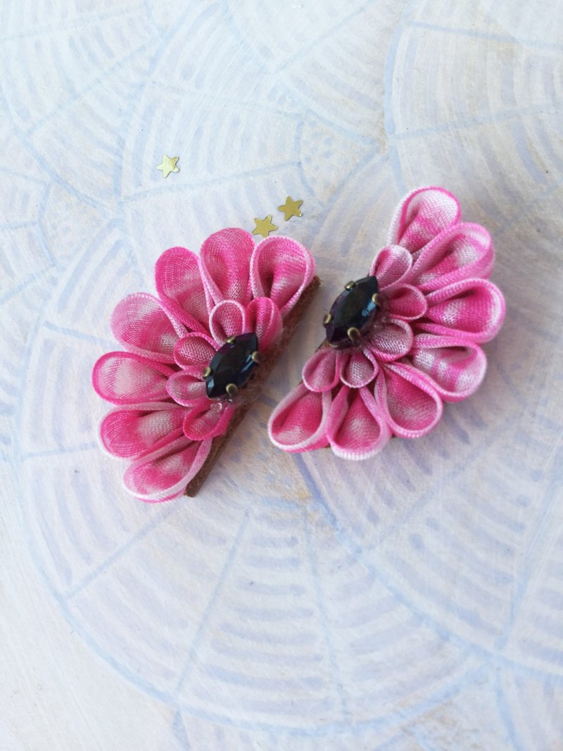 Semi Circle · PINK Flower Earrings swarovski 14Kgf