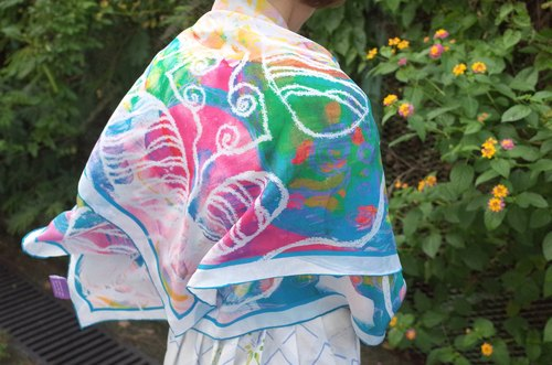 Stardust Journey Casa Batllo & the butterfly Silk Scarf