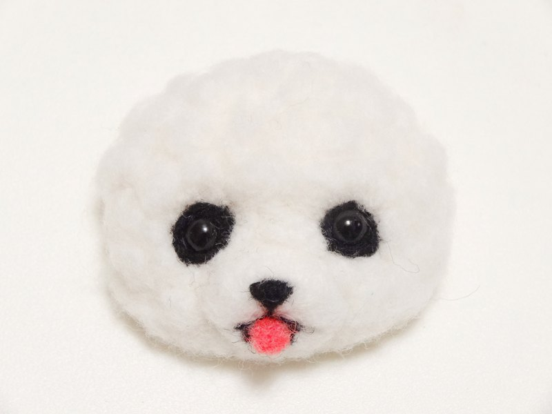 Bichon dog - wool felt pin