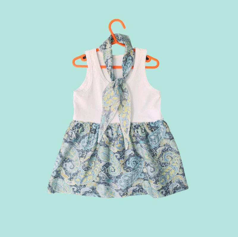 BENICIO Kids Dress with Scarf