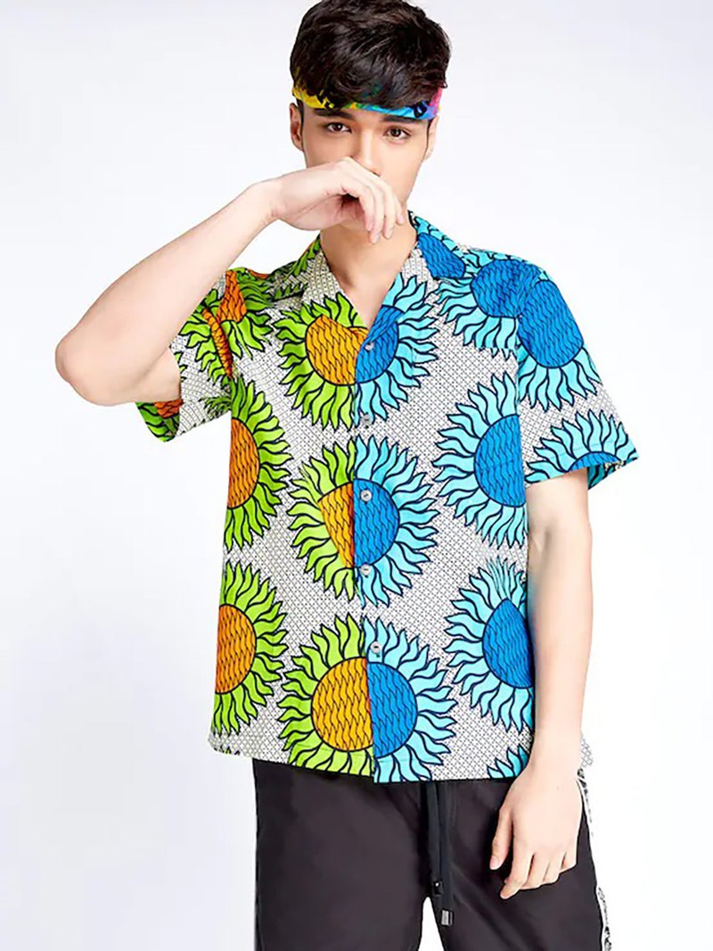 Hawaii Shirt Sunflower Green and Blue