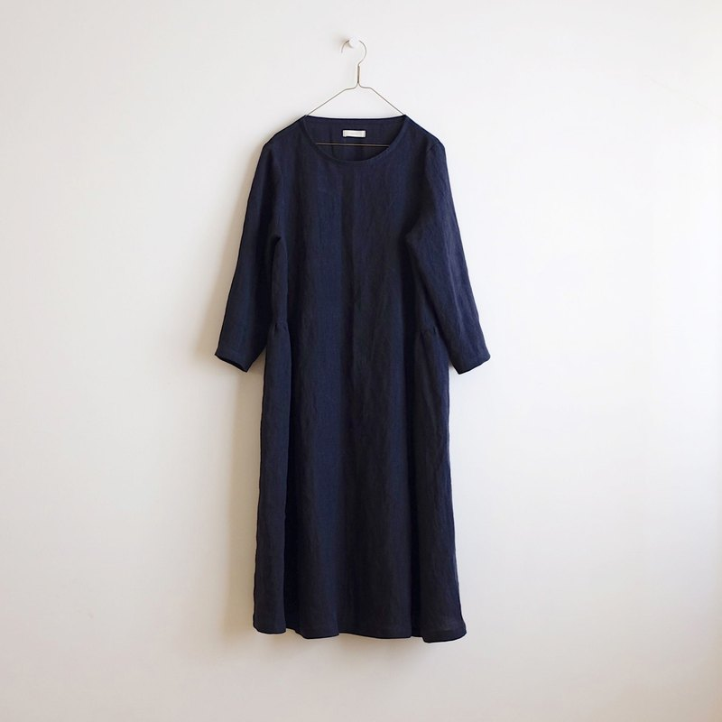 Daily hand-made suit ink blue air sense nine-point sleeve wide dress linen special