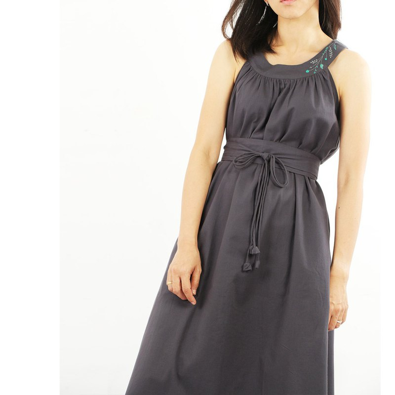 Cotton Maxi Dress, Hand embroidery/ Gray