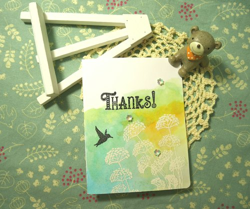 Handmade cards - green sweet thank you card