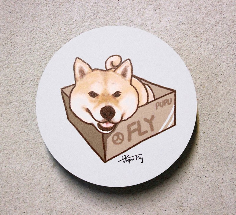 Firewood - Hide box / original illustration - Ceramic absorbent coaster / absorbent coaster Wenchuang Shiba flies planet / hand market set /