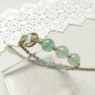 BUHO hand-made. ripple. Green Strawberry Crystal X South American Brazilian Wax Line Bracelet