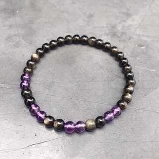 (Ofelia.) Custom custom Sands obsidian amethyst three-ring bracelet