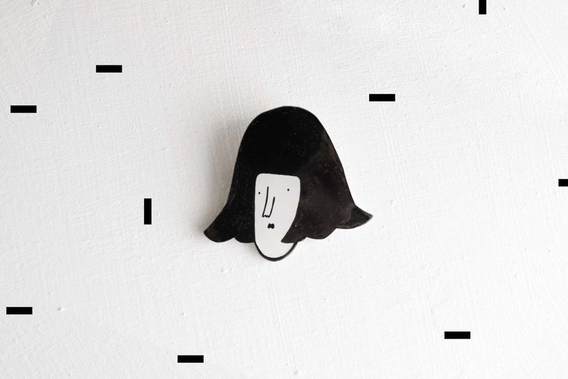 Miss Hairy Collection / Black and White Brooch/ H022