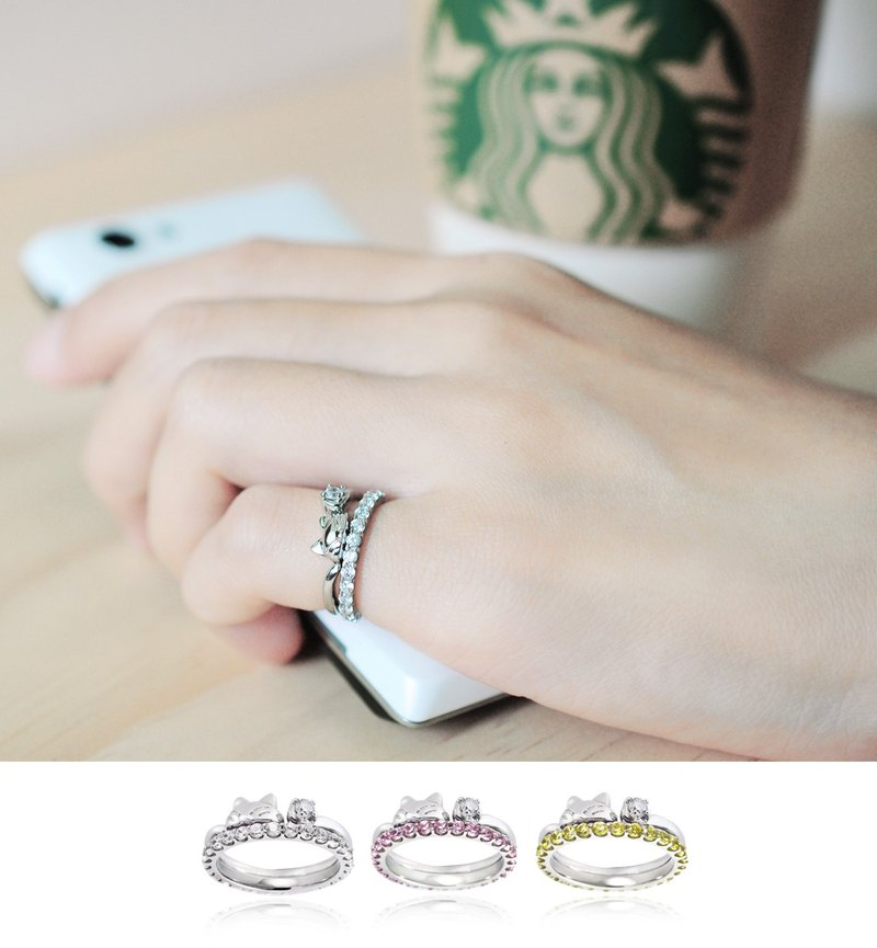 Little Fox & Pave setting steel ring (set) (white color) #5~#9