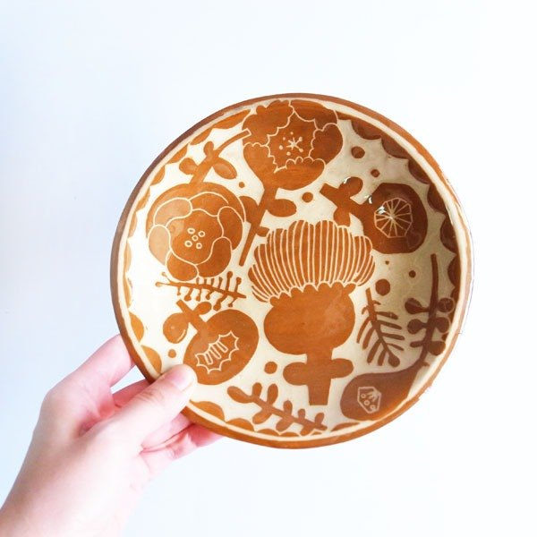 Coffee / Silhouette / Hand Engraved / Hand Painted / Flower / Food / Plate / Pottery