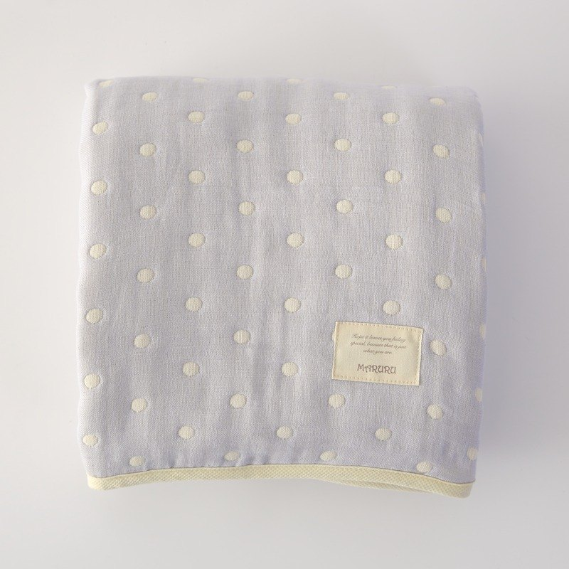 MARURU Six-layer gauze baby blanket  (S) Blue dot (Made in Japan)