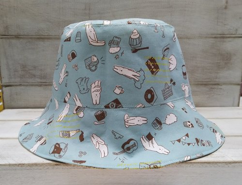 Pink Blue Green Rabbit Daily Poppies Double Sided Fisherman Hat Visor