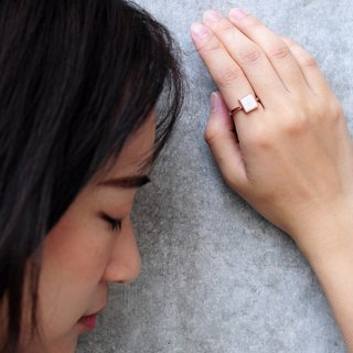 White Concrete Square Ring (Rose Gold) | Geometric Series