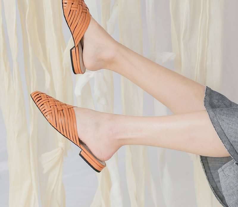 Cross Hollow Woven Flat Leather Cool Slippers Orange
