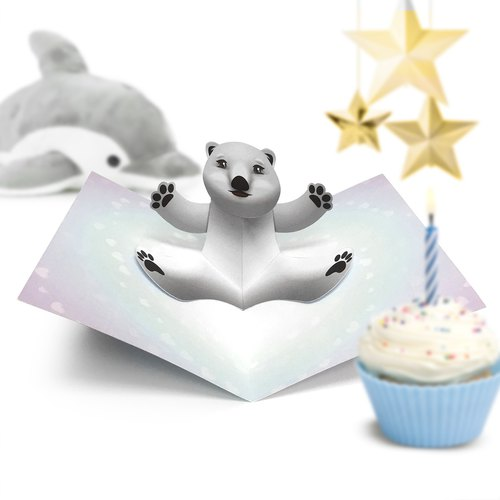 Polar Bear Card | Polar Bear Birthday Card | Birthday Card | Pop Up Card