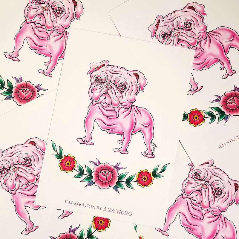 Melting pink dog illustration postcard