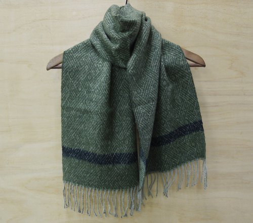 FOAK vintage seaweed green diamond lattice woven scarves