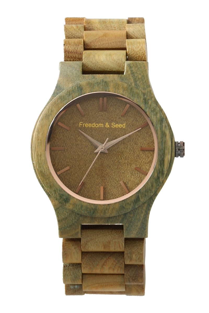 [Freedom & Seed] Japanese wood Watches: Arts series 43mm─Verawood green ebony models