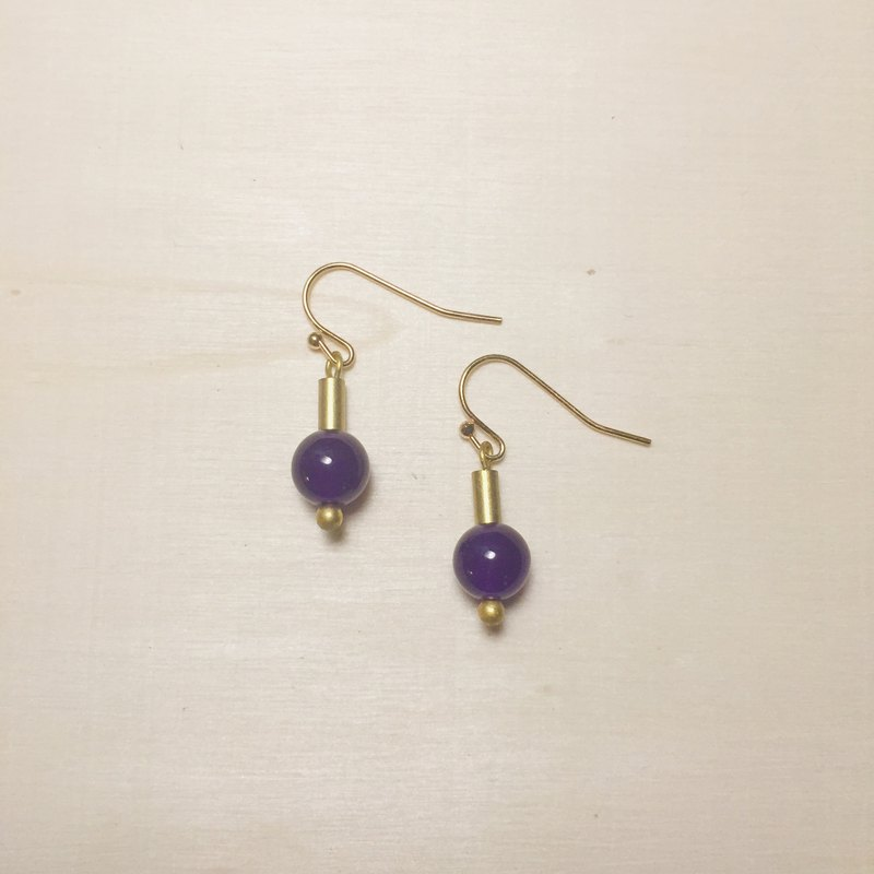 Deep purple jade small retro earrings