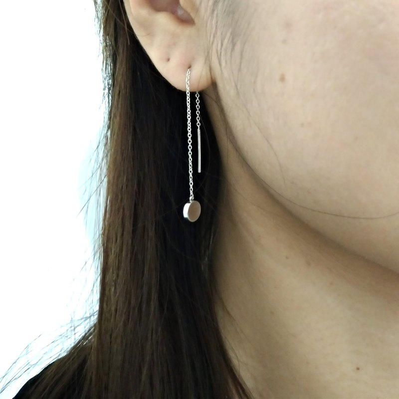 Sterling Silver Disc Threader Earrings
