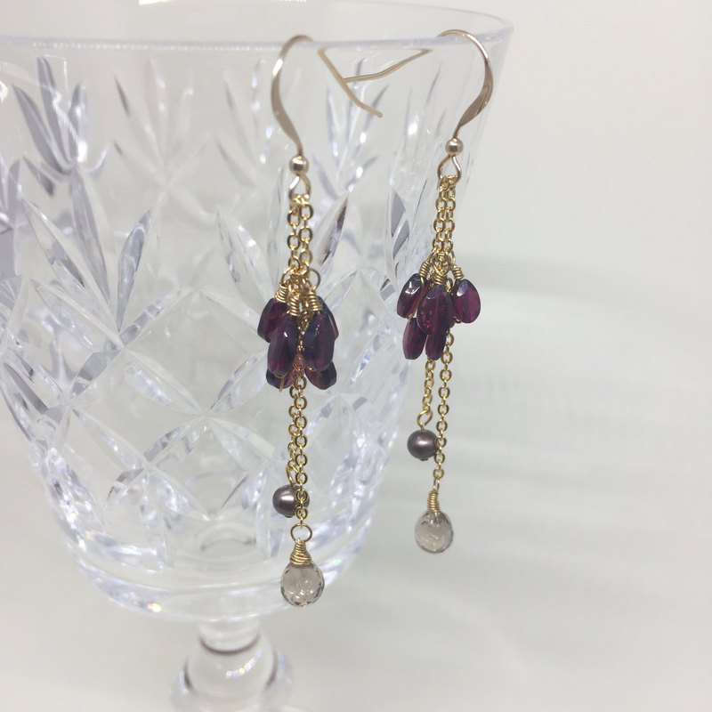 Tantalizing claret  garnet earrings