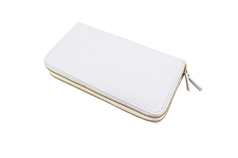 【Micro-defect welfare products】 double zipper long folder white