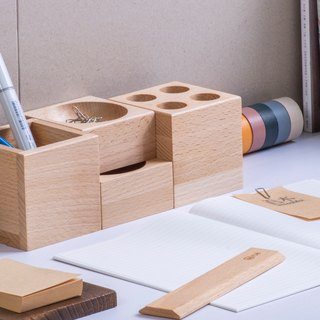 [combination stationery group] handmade wooden pencil case pencil case