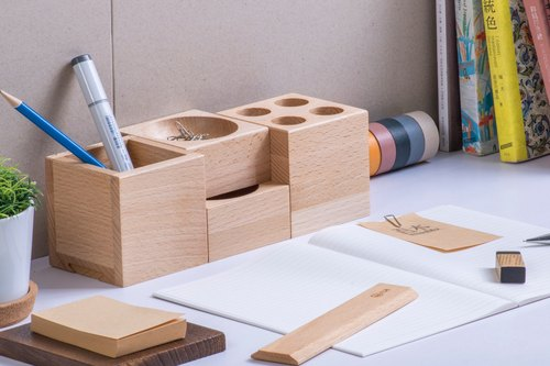 [combination stationery group] handmade graduation gift wooden pen box pencil case
