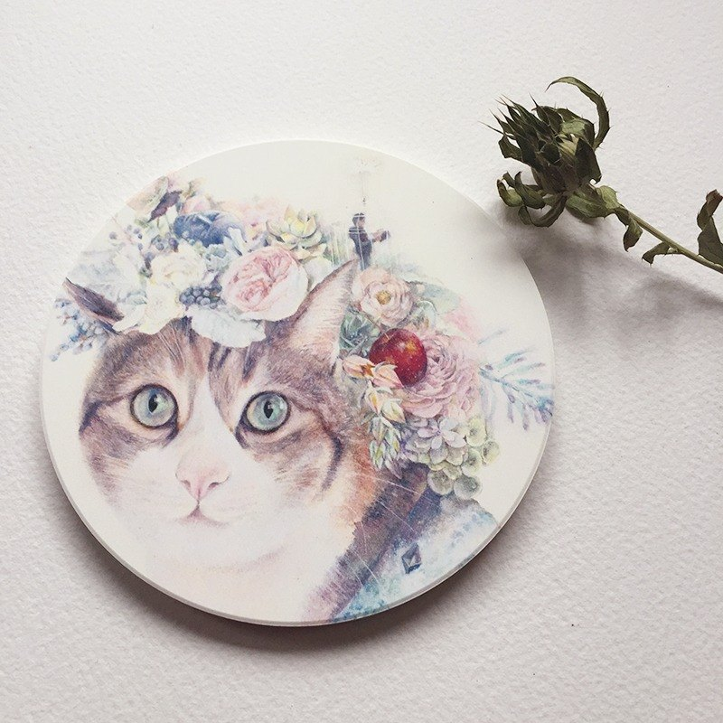 Cat-ceramic absorbent coaster