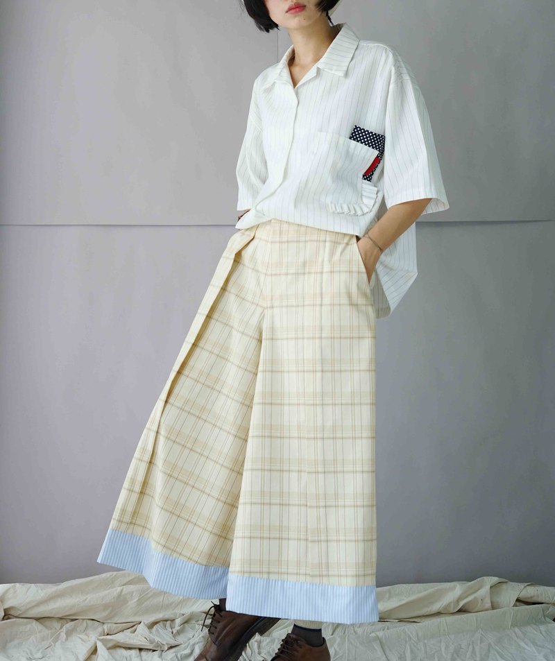 Design hand made - light yellow plaid discount stitching wide pants