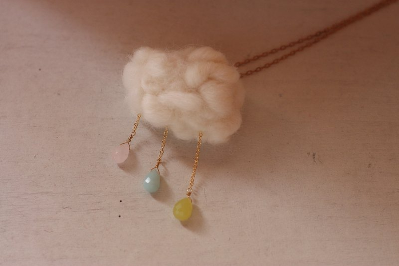 Tri-color Natural Stone Cloud Raindrop Necklace Pink Crystal Amazon Stone Olive Need to order