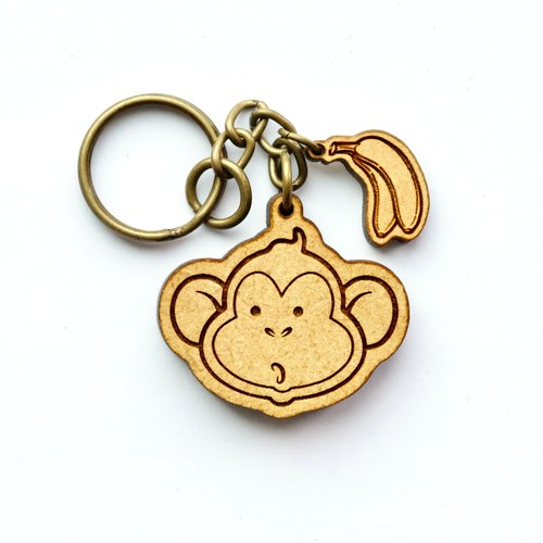 Wooden key ring - Monkey