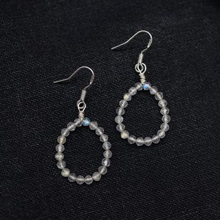 ITS-E004 [natural stone series] very beautiful glory gray moonstone 925 silver ear hook ear clip
