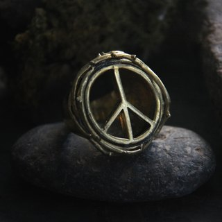 Peace with Thorn Crown Ring by Defy / Sign Ring / Statement Ring / Golden Sign Ring / Handmade Brass Jewelry.