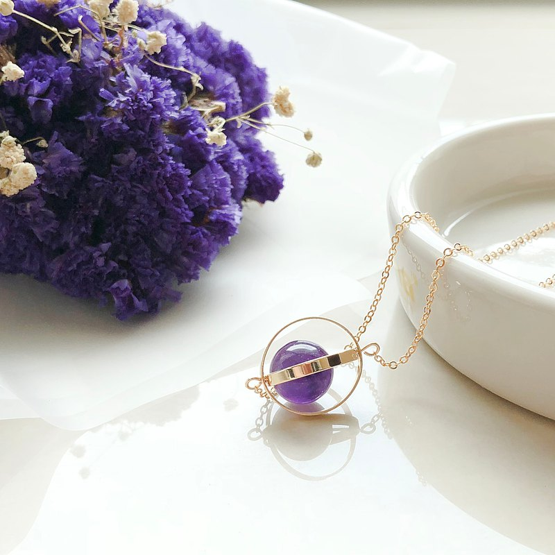 Romantic planet. universe. Golden ring. Amethyst. necklace